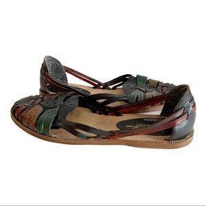 Vtg Jessica Woven Leather Sandals Huaraches